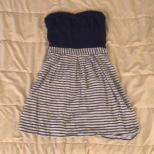 Navy Blue Stripped Strapless Dress